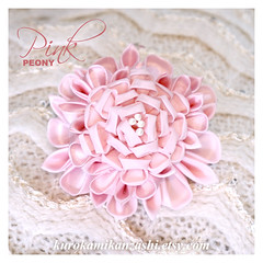 Pink Peony (Kurokami) Tags: lindsay ontario canada kimono japan japanese asia asian woman women girl girls lady ladies traditional kitsuke tsumami kanzashi folded flower flowers floral hair ornament ornaments pin silver pink peony faux pearl