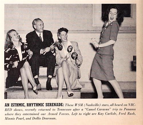 WSM stars Kay Carlisle, Ford Rush, Minnie Pearl & Dollie Dearman, Advancing the Victory Effort article, NBC Transmitter 1942