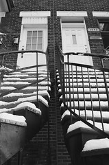 Stairs On Laurier Street (Dekhana Photo) Tags: analog argentique filmphotography minoltax700 ilforddelta400 35mm montreal canada quebec plateaumontroyal laurier noiretblanc dekhana andregenel blackandwhite stair escaliers house