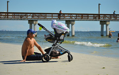 Shore duty (radargeek) Tags: florida fl 2018 october fortmyers fortmyersbeach beach stroller pier baby dad father