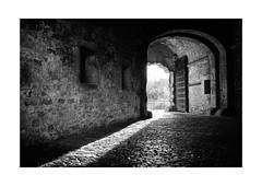 Light Leak (Thomas Listl) Tags: thomaslistl blackandwhite biancoenegro noiretblanc monochrome passage tunnel light shadow lightandshadow door stone 35mm cobblestones diagonal