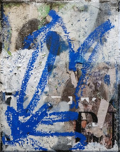 Zavier Ellis 'Revolt Repeat 6 (Blue)', 2020 Oil, oil bar, acrylic, spray paint, collage on canvas 30x24cm