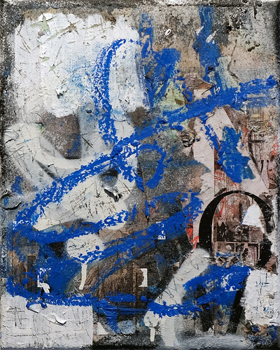 Zavier Ellis 'Revolt Repeat 4 (Blue)', 2020 Oil, oil bar, acrylic, spray paint, collage on canvas 30x24cm