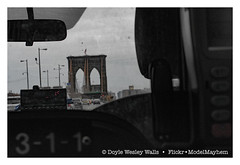 Brooklyn Bridge, from My Taxi (Doyle Wesley Walls) Tags: lagniappe 7050 brooklynbridge taxi cab numbers cars road frontwindshield doylewesleywalls vehicles autos automobiles