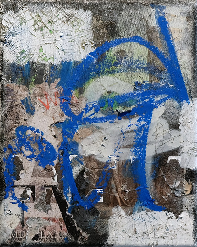 Zavier Ellis 'Revolt Repeat 5 (Blue)', 2020 Oil, oil bar, acrylic, spray paint, collage on canvas 30x24cm