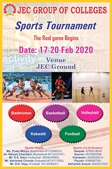 JEC College Sports Tournament (jeckukas) Tags: flightwithjec sports tournament badminton basketball volleyball kabaddi football jeckukas jaipur pinkcity engineering college education rajasthan