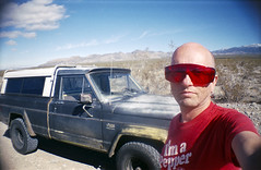 Me and Rick, Mojave road trippin'. (The 69th Dimension) Tags: film analog analogue roadtrip jeep mojave desert portrait 35mm filmphotography