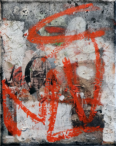 Zavier Ellis 'Revolt Repeat 1 (Red)', 2020 Oil, oil bar, acrylic, spray paint, collage on canvas 30x24cm