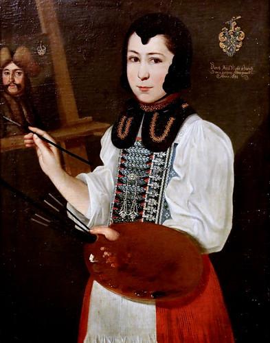 IMG_1485B Anna Waser 1678-1734 Zurich Self-portrait as the age of twelve as he peints the portrait of her teacher Johannes Sulzer    Autoportrait à l'âge de douze ans alors qu'elle peint le portrait du professeur Johannes Sulzer 1691 Zürich Kunsthaus  1è