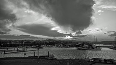 Day's done (OzzRod) Tags: pentax k1 hdpentaxdfa2470mmf28 clouds sunset harbour boatramp birds boats monochrome blackandwhite bermagui nswfarsouthcoast