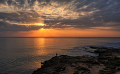 February morning, Spain (Vest der ute) Tags: spain xt2 sea seascape landscape sky clouds rocks man morning sunrise fav25
