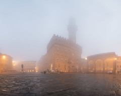 Piazza della Signoria and Palazzo Vecchio, Florence, Italy (ansharphoto) Tags: ancient architecture art building city culture david della europe exterior famous florence fountain guildhall haze historic history iconic italian italy landmark medieval michelangelo mist monument morning neptune old outdoor palace palazzo piazza rain renaissance sculpture sightseeing signoria square statue summer tourism tower town travel tuscany twilight uffizi urban vecchio view