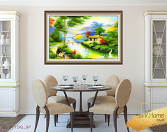 Dining-room interior. (vhomeartinfo) Tags: 3d apartment beige blue classic chair chairs contemporary cupboard decor decoration design dine diningroom empty home house interior indoors four front frontal modern nobody render room seat table wall