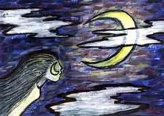 Lady Moon (Rayce Rapoza) Tags: lady woman moon lunar mixedmedia paint acrylic brushstrokes impressionism artistic painting ancient ancientart myth mythology ink inkbrush clouds night nighttime brightmoon crecentmoon symbolism fictional mythological ancientmyth mural visualarts creativity art abstract illustration hair longhair graphics visuals color acrylicpaint texture colorful astrological nighsky sky evening midnight thenight nightlight bigmoon glow glowing