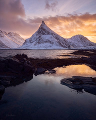 «The lights of Lofoten» (kaxelsenfoto) Tags: winter vinter lofoten sunset sea mountain snow seascape nature norway landscape outdoors coast snowcapped mountaintop goldenlight sonya7rii landscapepgotography