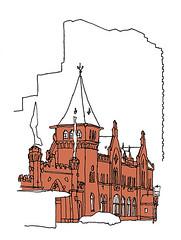 Hoepfner Restaurant, Karlsruhe. January 2020 (stevefaradaysketches) Tags: hoepfner brewery karlsruhe urbansketch urbansketchers usk inkdrawing illustration onlocation fineliner architecture victorian gothic