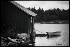 Boathouse (ShimmeringGrains) Tags: zuikoprimelens olympusom olympusom1n bw kodakhc110b 135film filmphotography shimmeringgrains analogue faluröd monochrome polypanf ©marieahlén 24x36 polypanf50iso zuikoforom film kodakhc110 blackandwhite analog zuiko5018 boathouse boat water sweden
