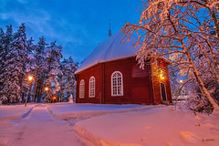 Winter in Sweden_001 (Joachim Spenrath Münster, Germany) Tags: outside sweden ice sunrise snow cold kalt schnee eis polargrenze schweden jokkmokk church christmas winter trees