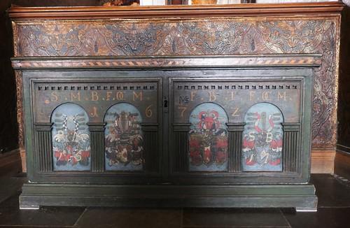 Bahut XVIIe, salle des Chevaliers, château de Frederiksborg (XVIe-XVIIe), Hillerød, Sélande, Danemark.
