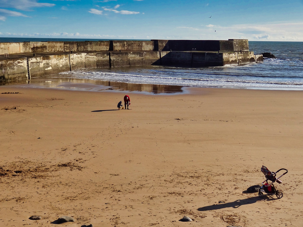 Collieston beach and harbour