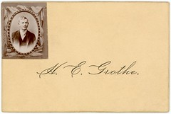 H. E. Grothe—Calling Card with Photograph (Alan Mays) Tags: ephemera callingcards visitingcards photographiccallingcards photographcallingcards photocallingcards photographcards photographicvisitingcards photographvisitingcards photovisitingcards namecards names cards photographs photos foundphotos portraits paper printed grothe hegrothe men clothes clothing suits ties vests glasses eyeglasses spectacles borders frames ovals draperies urns books vignettes vignetting 19thcentury nineteenthcentury victorian antique old vintage typefaces type typography fonts
