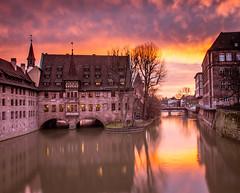 Sunrise from Museumsbrücke in Nuremberg, Germany