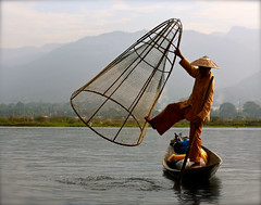 173A5250 Traditional Fisherman (margo2x) Tags: inlelake myanmar burma ngapegyaung shan mountans tradition culture basketnet fisherman woodenboats travel
