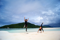 Diving instructors jumping on the beach in Raja Ampat Island - Occidental Papua, Indonesia (Alex_Saurel) Tags: rajaampat asia horizontal outdoorpursuit summer papuan sand voyage travel island water leisureactivity watersedge vacations candide beach southeasternasia vacances sun papua iranjaya touristresort reallife relaxation day papouasie outdoors westpapua sliceoflife sea resting reportage sunlight papuaculture yenbuba recreationalpursuit sky beachholiday indonesia traveldestinations sunny tropical naturallight realpeople dt1855mmf3556sam