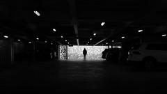 Caught in a spider's web (parenthesedemparenthese@yahoo.com) Tags: peterhaimerelarchitektur dem alone bn backlighting car deutschland fall germany man monochrome munchen munich nb noiretblanc parking shadows silhouette street blackandwhite blancoynegro bnw byn canon600d ef24mmf28 homme indoor light lumière seul streetphotography voiture