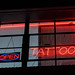 Open Sign - Tattoo Sign - Neon Lights at Night
