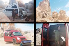 Desert camping and climbing (wrenee.com) Tags: film halfframe kodak200 kodakgc200 nickelodeonphotoblaster joshuatree desert camping vanagon