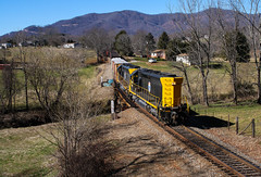 Unconventional (weshendrix) Tags: blue ridge southern blu shortline train railfan railfanning railroading railroad rr freight manifest local north carolina nc watco emd sd40m2 sd45 carbody standard cab diesel engine locomotive vehicle outdoor mountains sky winter grass bridge rails
