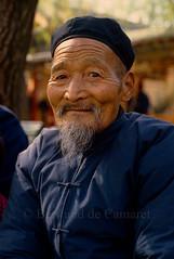 Dans un parc de Xi'An (Bertrand de Camaret) Tags: china xian portrait homme man chinois chinese 1986 tradition bertranddecamaret ngc nationalgeographic bleu blue chine visage