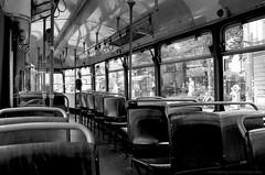 Alone in the tram (Drehscheibe) Tags: tram analogica analog nikonf nikkor35mm 35mm film fp4plus blackwhite bwfp classicblackwhite explore