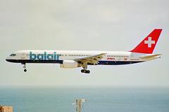HB-IHS Boeing 757-2G5 Balair (blue titles) LPA 04NOV00 (Ken Fielding) Tags: hbihs boeing b7572g5 balair aircraft airplane airliner jet jetliner aviation