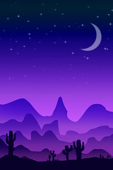 Desert Sunset (chiaralily) Tags: chiaralily photoshop digital art moon stars mountains cactus desert night evening painted landscape tutorial flat 2d crescent