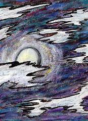 Moon in Cool (Rayce Rapoza) Tags: painting art canvas acrylic purple nature night moon sky nightsky nighttime moonlight clouds nightclouds texture acrylicpaint creativity impressionism impressionistic outdoors artistic blue lunar brightmoon illustration visualarts paint shine moonshining glow glowingmoon moonglow lunarmoon white brush drybrush violet evening