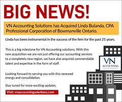 BIG NEWS - VN Accounting Solutions Acquired Linda Bulanda, CPA Professional Corporation (VNaccsolutions) Tags: cpa ontario canada bowmanville certified public accountant vnaccountingsolutions