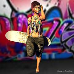 ♛158♛ B BOS (cometa shadow ♛Ɓℓσggєя♛) Tags: bbos badhairday catwa maitreya tresbeau skin shape applier urban rap skateboard graffiti fashion style shopping