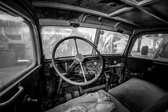 Interior of an old truck (Jante01) Tags: old truck cockpit interior hdr lightroom canon5d abandoned oldtimer blackandwhite bw