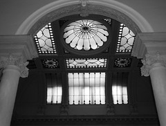 Historic Osgoode Hall Toronto (Mr. Happy Face - Peace :)) Tags: toronto ontario canada uppercanada history landmarks archives architecture vintage lawsociety streetscape city downtown black white bw art2020 window skylight hww wednesday