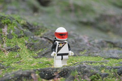 Character Scene: - Space Police Wandering. (Working hard for high quality and good work.) Tags: police space lego theme classic vintage character toy planet rock nature ground