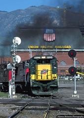 Smokin' Through Grant Tower (jamesbelmont) Tags: locomotive railway railroad train omigv ac4400cw c408 ge genevasteel minntacironore utah saltlakecity granttower southernpacific chicagonorthwestern