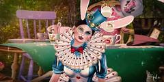 We're All Mad Here 😆 (Spikie Chickie) Tags: secondlife secondlifephotography sl maitreya catwa boudoir alice aliceinwonderland whiterabbit rabbit teaparty madhatter