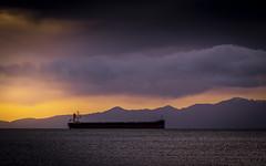 Precious Sky (Paul Rioux) Tags: ship vessel freighter bulkcarrier precioussky salish sea sunrise morning clouds olympicmountains marine prioux