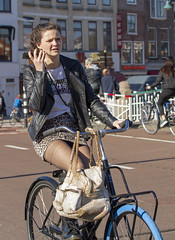 something blue (Henk Overbeeke Atelier54) Tags: girl street candid bike bicycle bicicletta vélo fiets fahrrad miniskirt phone nylons drmartens