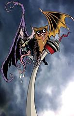 TwinBat gig poster (Tom Bagley) Tags: tombagley canada alberta calgary creature ink gigposter cloudscape bat hairofthedog calgarytower twinbatstickerco
