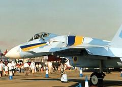 Ukraine Air Force Sukhoi SU-27S Flanker B / 48 (Wing attack Plan R) Tags: su27s sukhoi flanker ukraineairforce riat 1996 england airshow raffairford russianfederation