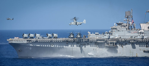 An MV-22 Osprey takes off from the flight deck