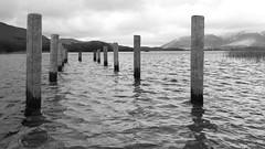 Keswick Mary Mount 02-20 (85 bw) (Big Warby) Tags: davidwarburton bigwarby landscapes floods greatbritain unitedkingdom uk lakedistrict cumbria derwentwater jetty